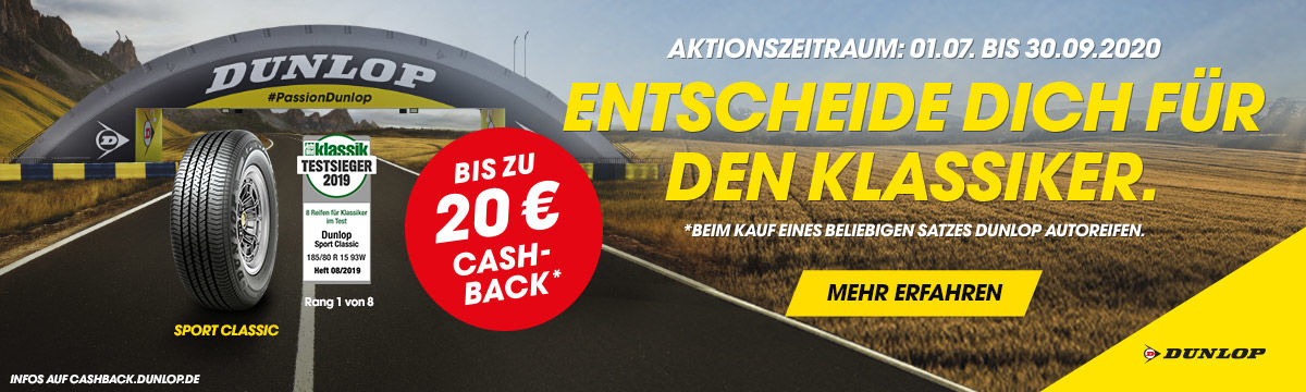Bis zu 20 Euro Cashback beim Kauf von Dunlop Reifen